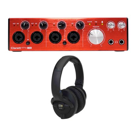 Focusrite Clarett 4Pre USB Recording Interface w/ 4 Mic Preamps + KRK Headphones
