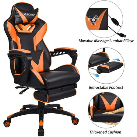 ELECWISH Massage Computer Gaming Chair With Footrest,Headrest and Lumbar Support