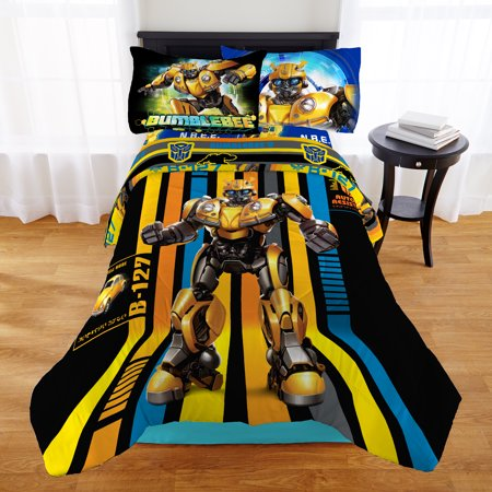 Transformers Bumblebee Boys Full Comforter & Sheet Set (5 Piece Bed In A Bag)