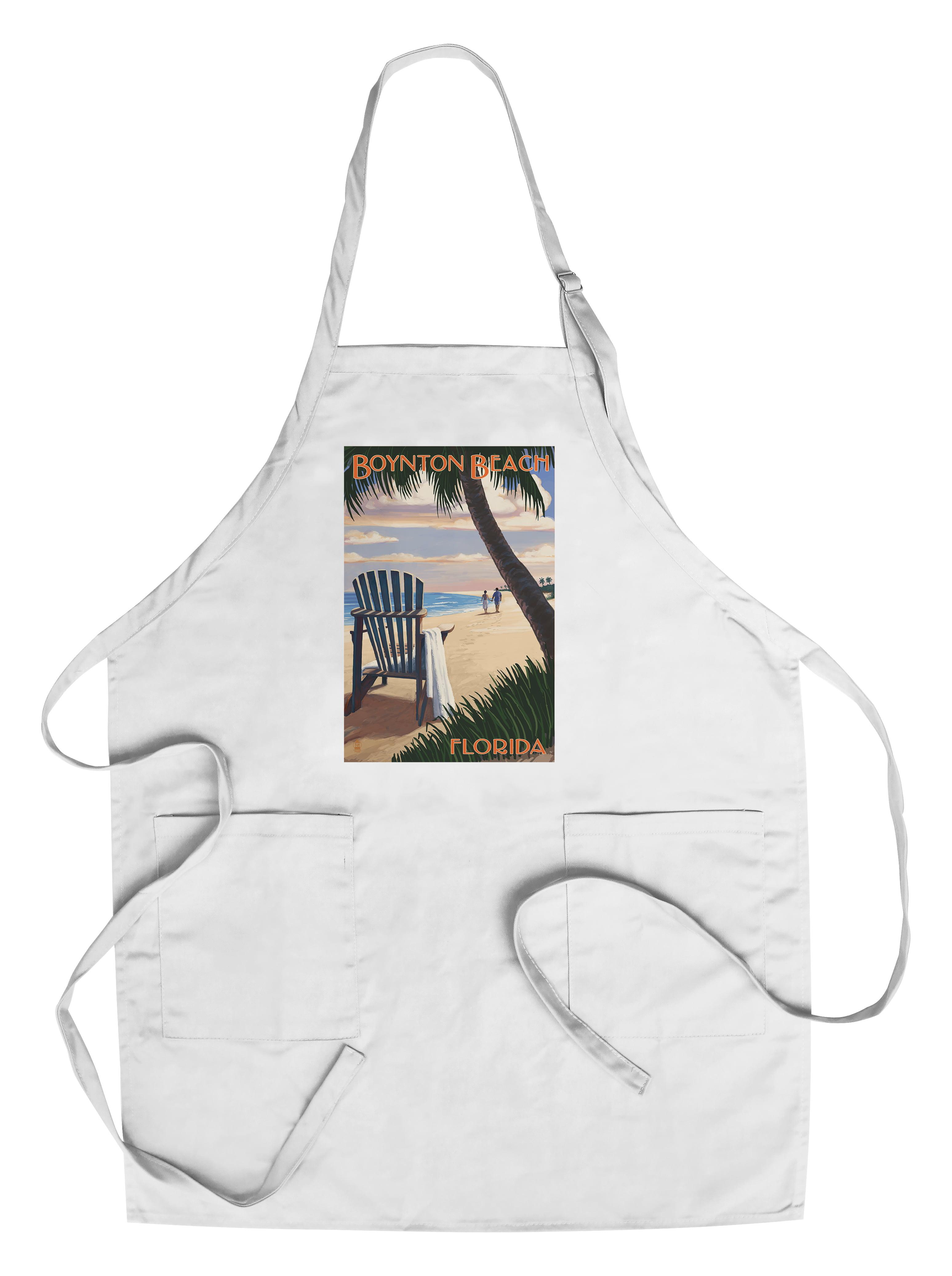 Boynton Beach, Florida Adirondack Chair on the Beach Lantern Press Poster (Cotton Polyester Chef's Apron) by Lantern Press