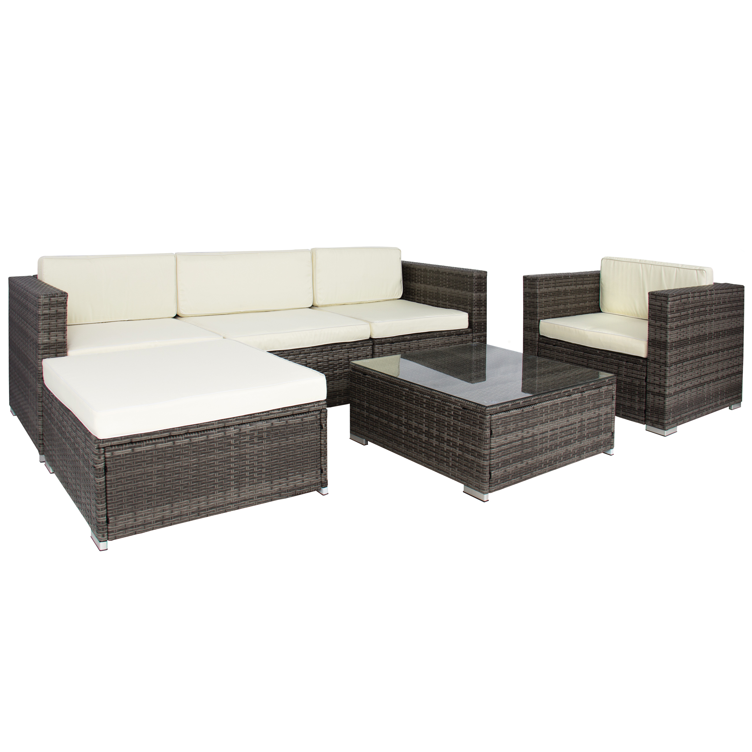 6PC Outdoor Patio Garden Wicker Furniture Rattan Sofa Set Sectional Grey    Walmart.com