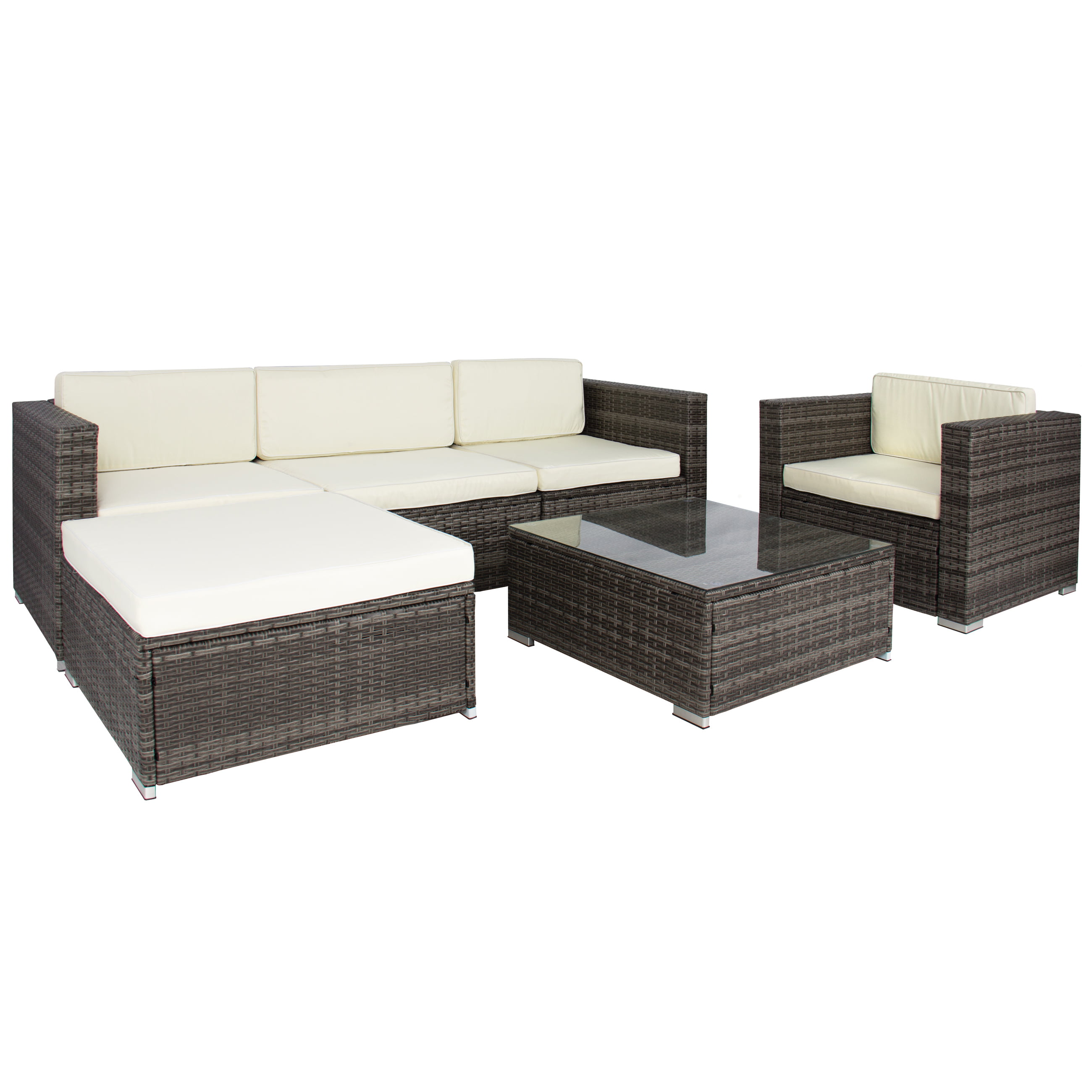 rattan sofa sets 6pc outdoor patio garden wicker furniture. Black Bedroom Furniture Sets. Home Design Ideas