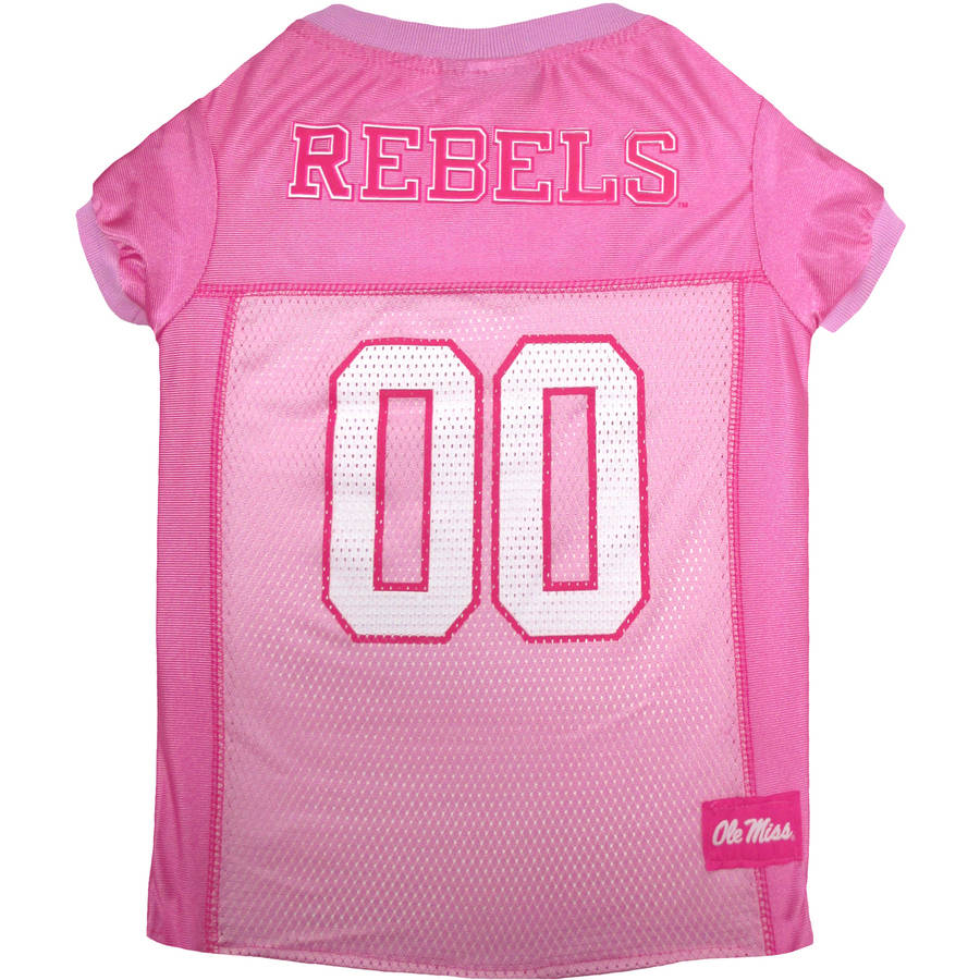 Pets First College Mississippi Rebels Pet Pink Jersey, 4 Sizes Available