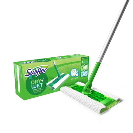 Sweeper Dry + Wet All Purpose Floor Mopping and Cleaning Starter Kit with Heavy Duty Cloths, 1 Mop, 7 Dry Pads, 3 Wet Pads