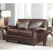 Lazzaro Carlyle Leather Loveseat in Coffe Beans
