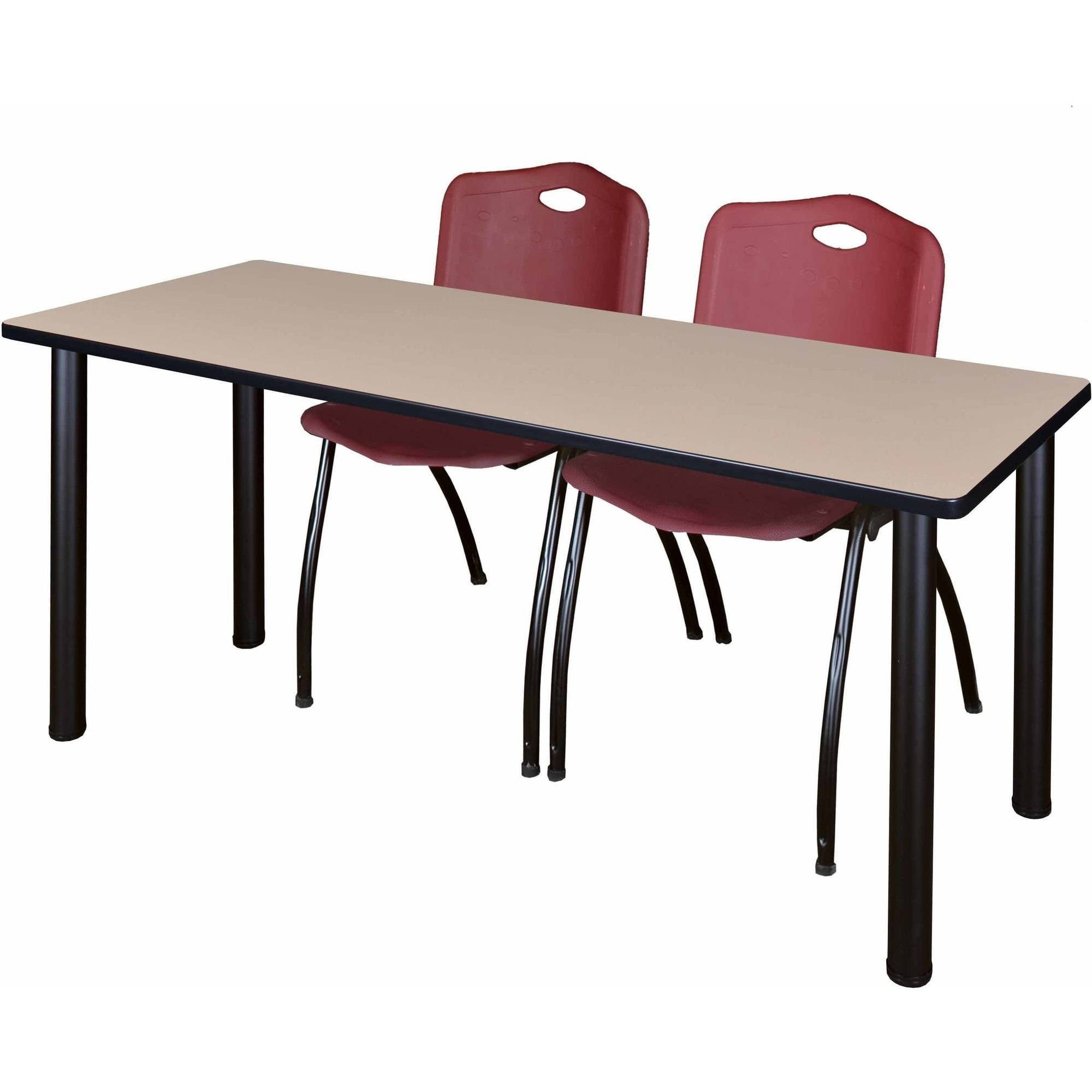 """Regency Kee 66"""" x 24"""" Training Table, Beige/Black and 2 'M' Stack Chairs, Multiple Colors"""