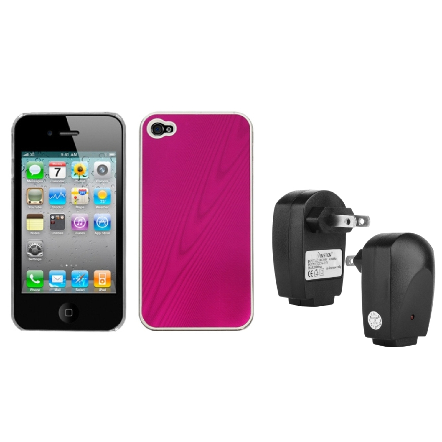 Insten Hot Pink Cosmo Back Case For iPhone 4 4S + USB Travel Charger Adapter