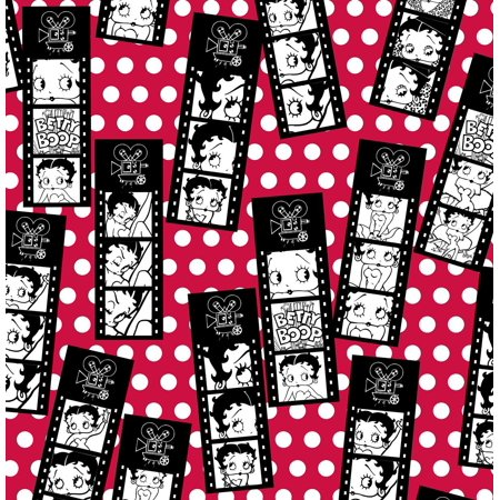 Film Strip Tossed on Red Flannel Fabric-Officially Licensed (Great for Quilting, Sewing, Craft Projects, Quilt, Blanket & More) 1/2 Yard By Betty Boop
