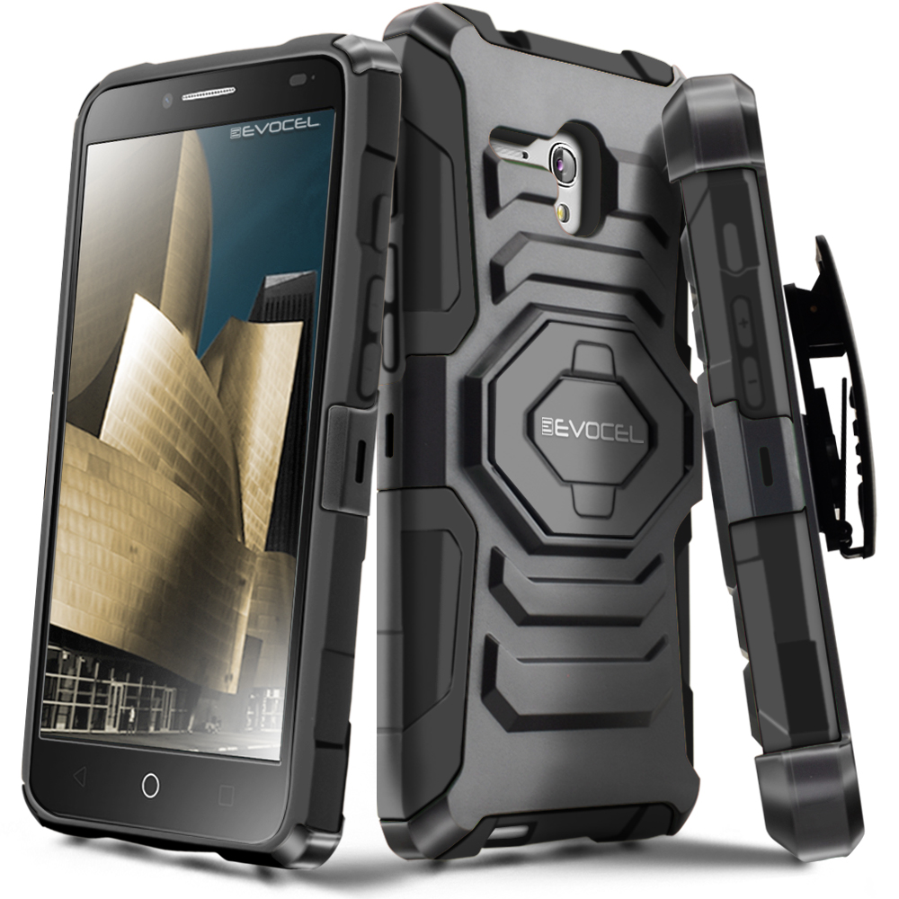 Alcatel OneTouch Fierce XL Case, Evocel [Belt Clip Holster] [Kickstand] [Dual Layer] New Generation Phone Case for Alcatel OneTouch Fierce XL (2015 Release), Black