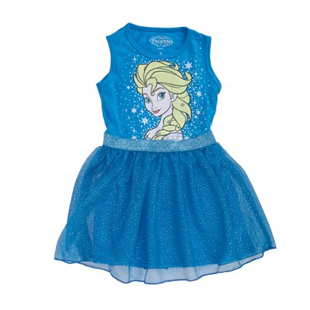 Disney Frozen Starry Elsa Girls Sleeveless Tulle Dress | 8](Elsa Dress Girls)
