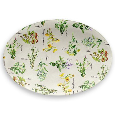 Mainstays Outdoor Melamine Printed Herbs Oval Serving - Bloom Oval Serving Platter