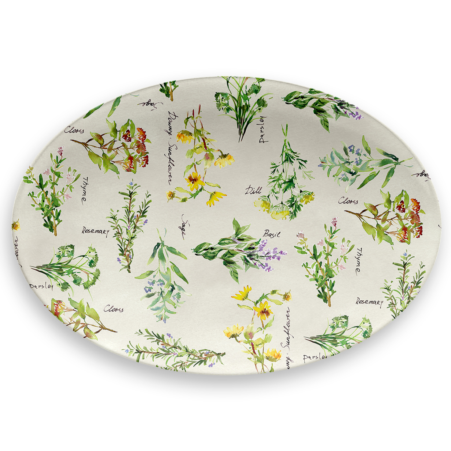 Mainstays Printed Herbs Melamine Oval Serving Platter