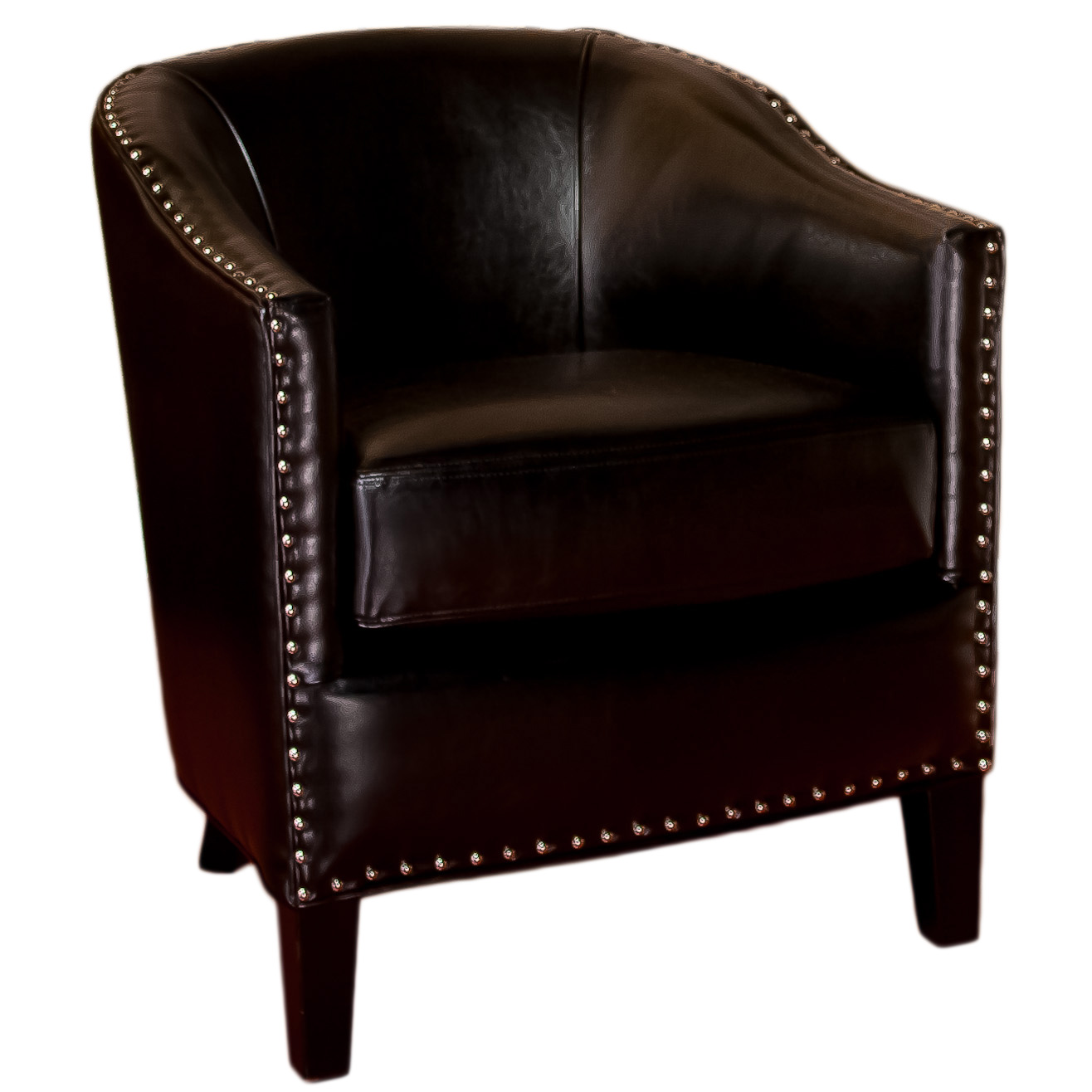 Anson Black Leather Club Chair by GDF Studio