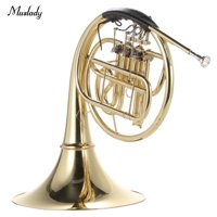 Muslady French Horn B/Bb Flat 3 Key Brass Gold Lacquer Single-Row Split Wind Instrument with Cupronickel Mouthpiece Case