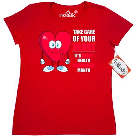 Inktastic Take Care Of Your Heart   White Text Womens T Shirt Disease Awareness February Health Congenital Walk Support Clothing Apparel Tees Adult