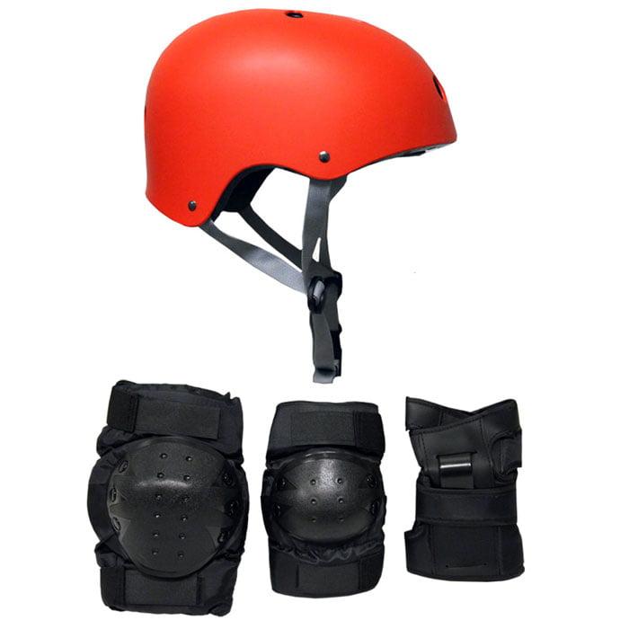 Skateboard Helmet Elbow Knee Wrist Pad Combo MEDIUM Bmx Inline RED by