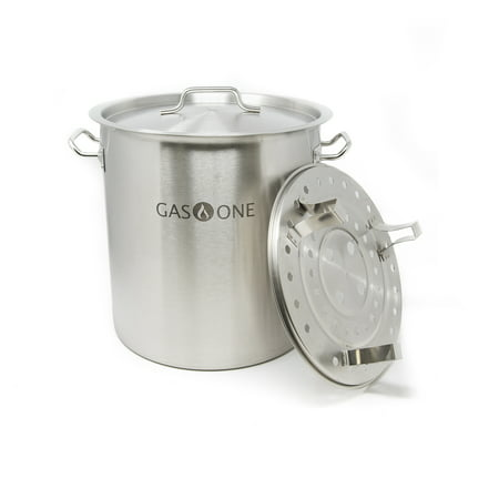 Convection Steamer Gas Two Compartments - Gas One Stainless Steel Stock Pot with Steamer 10 Gallon with lid/cover & Steamer Rack, Tamale, Dumpling, Crawfish, Crab Pot/Steamer Thickness 1mm Perfect for Homebrewing & Boiling Sap for Maple Syrup
