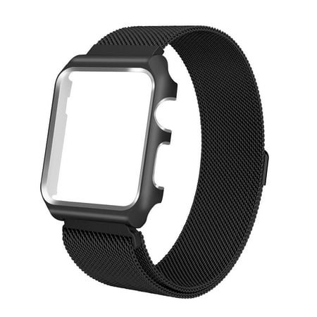 For Apple Watch Band with Case 42mm, Stainless Steel Mesh Milanese Loop with Adjustable Magnetic Closure Replacement Wristband iWatch Band for Apple Watch Series 3 2 1 - Black - image 3 of 3