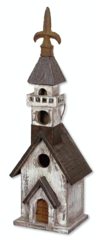 "17.75"" Vintage Garden Black and White Church Wooden Outdoor Patio Birdhouse Feeder by CC Outdoor Living"
