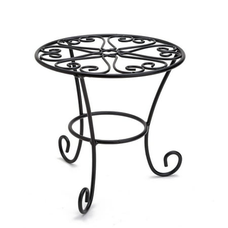 THY COLLECTIBLES Metal Potted Plant Stands Rust Proof Iron Art Flower Pot Holder Rack Steel Short Planter Supports Trivet Floor Garden Pots Containers Vase Fishbowl Stand (1 PC) (Metal Stand)