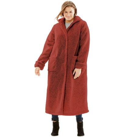 873c2dc3736 Woman Within - Plus Size Hooded Berber Fleece Duster Coat - Walmart.com