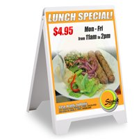 """Double Side Sidewalk A-frame Sign Sandwich Board PVC White Holds 19 11/16""""x32 11/16""""graphic Plastic Panels"""