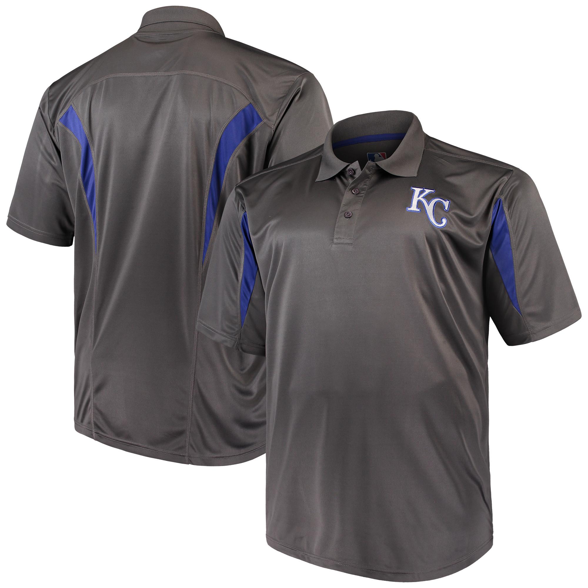 Kansas City Royals Majestic Contract Polo - Charcoal/Royal