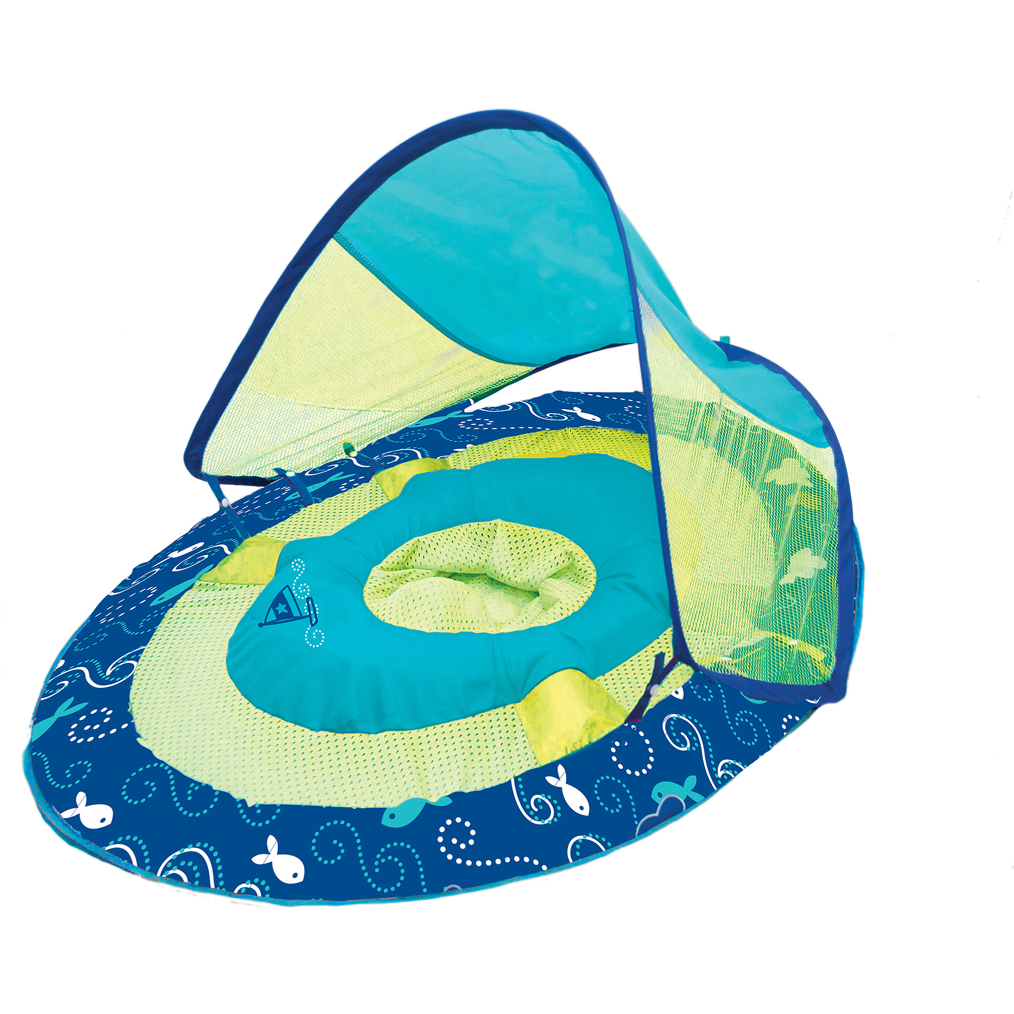 Baby Spring Float Sun Canopy, Blue/Yellow, Sailboat Print