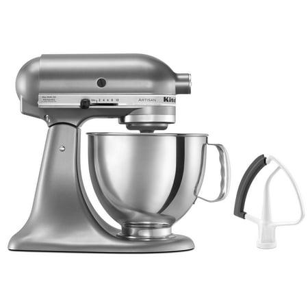 KitchenAid Artisan Series 5 Quart Tilt-Head Stand Mixer with Flex Edge Beater, Contour Silver (KSM150FECU)