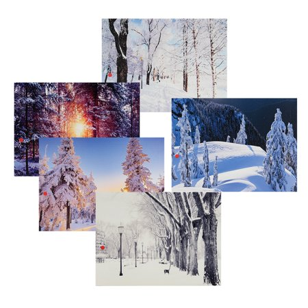 LED Light Up Christmas Canvas Pictures 30x40cm Picture Decor Wall Hanging with Frame ()