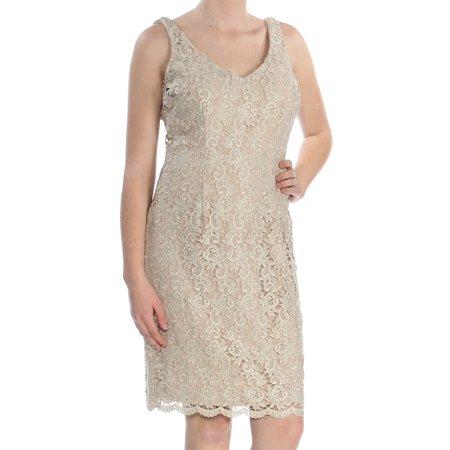 RALPH LAUREN Womens Beige Scalloped Hem La Sleeveless V Neck Above The Knee Party Dress  Size: 8](Ralph Lauren Halloween Party)