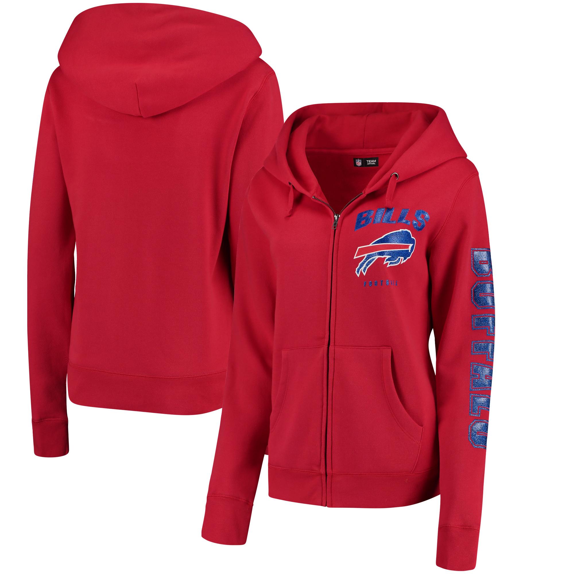 Buffalo Bills New Era Women's Playbook Glitter Sleeve Full-Zip Hoodie - Red