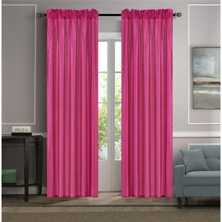 MR2 HOT PINK 2-PC SET MYRA Rod Pocket Faux Silk Window Curtain Treatment, Set of Two (2) Solid Semi Sheer Panels 55