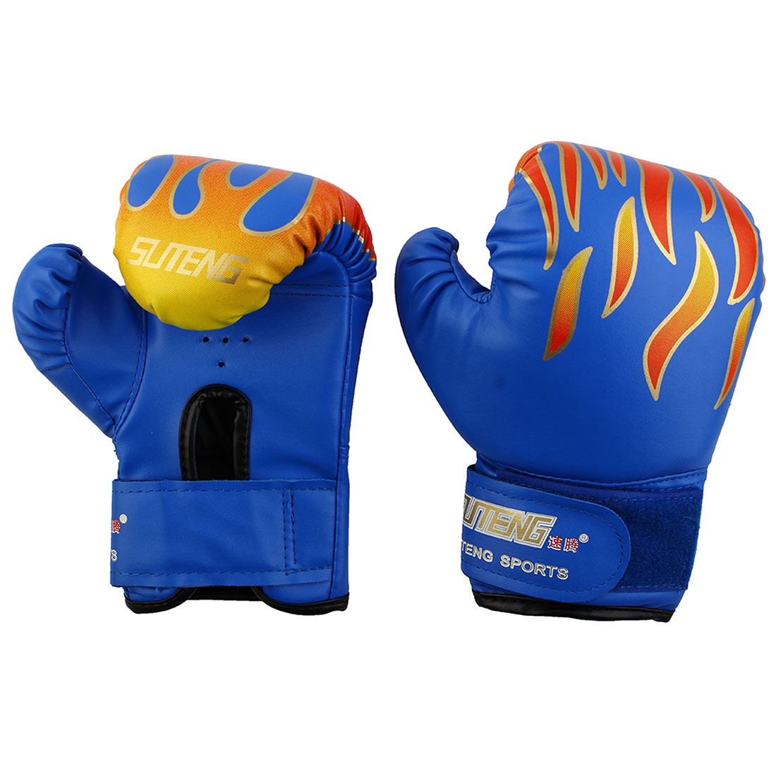 SUTENG Authorized Adult PU Flame Print Sparring Punching Bag Mitts Kickboxing Fighting Boxing Gloves Pair Blue