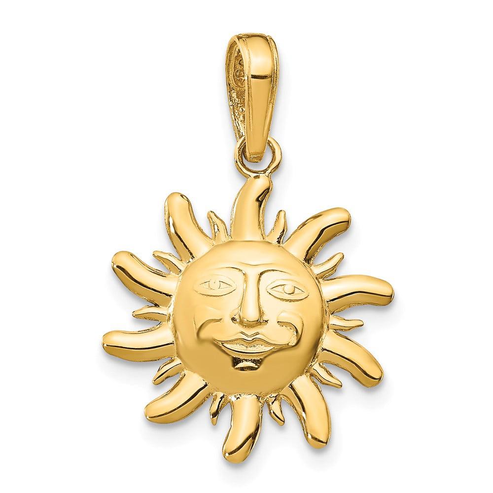 14k Yellow Gold D/C Small Sun Pendant