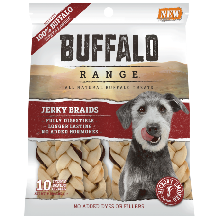 Buffalo Range All Natural Grain Free Jerky Braid Rawhide