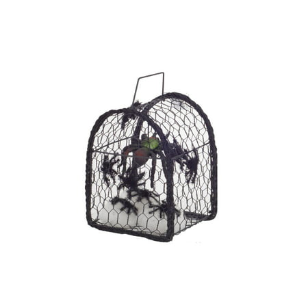 Set of 4 Black Metal Cage with Spiders Halloween Decoration 8.25