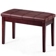 Costway Solid Wood PU Leather Piano Bench Padded Double Duet Keyboard Seat Storage Brown