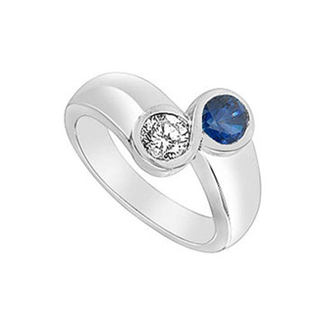 FineJewelryVault UBUF160W14CZS-118 Diffuse Sapphire and Cubic Zirconia Ring : 14K White Gold - 1. 00 CT TGW - Size: 7