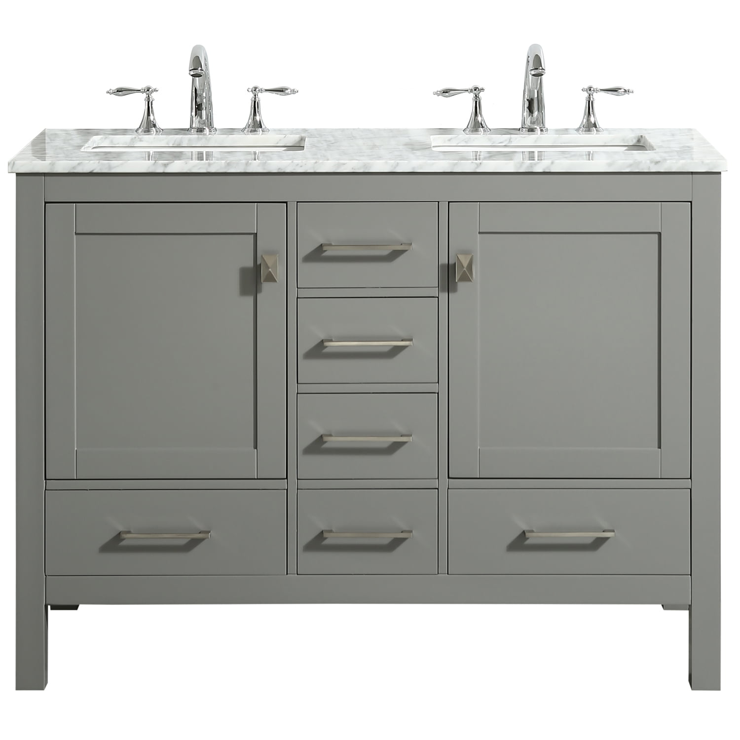 Eviva Aberdeen 48 Transitional Gray Bathroom Vanity With White Carrara Countertop Walmart Com Walmart Com