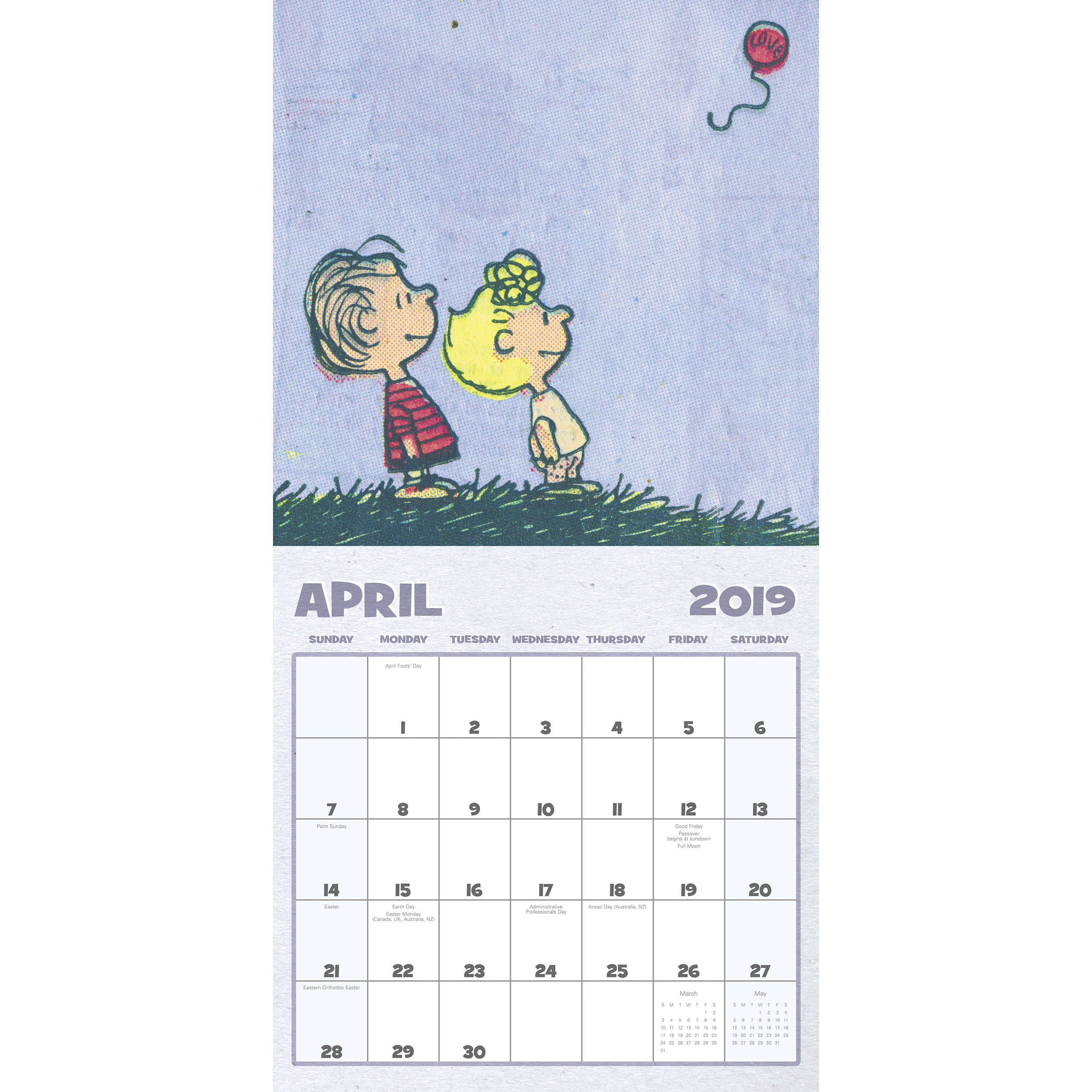 """Mead® Peanuts 2019 Monthly Wall Calendar, 12"""" x 12"""""""