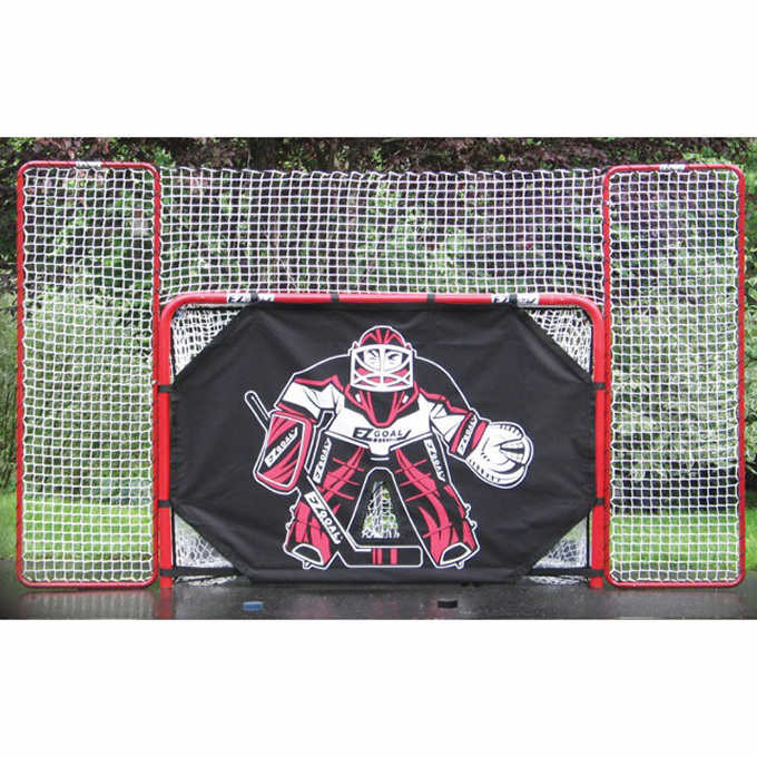 EZ Goal Monster 6'x4' Hockey Goal with 10'x6' Backstop by