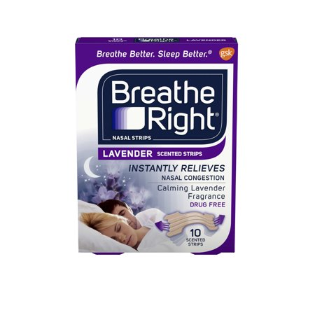Breathe Right Calming Lavender Scented Drug-Free Nasal Strips for Nasal Congestion Relief, 10