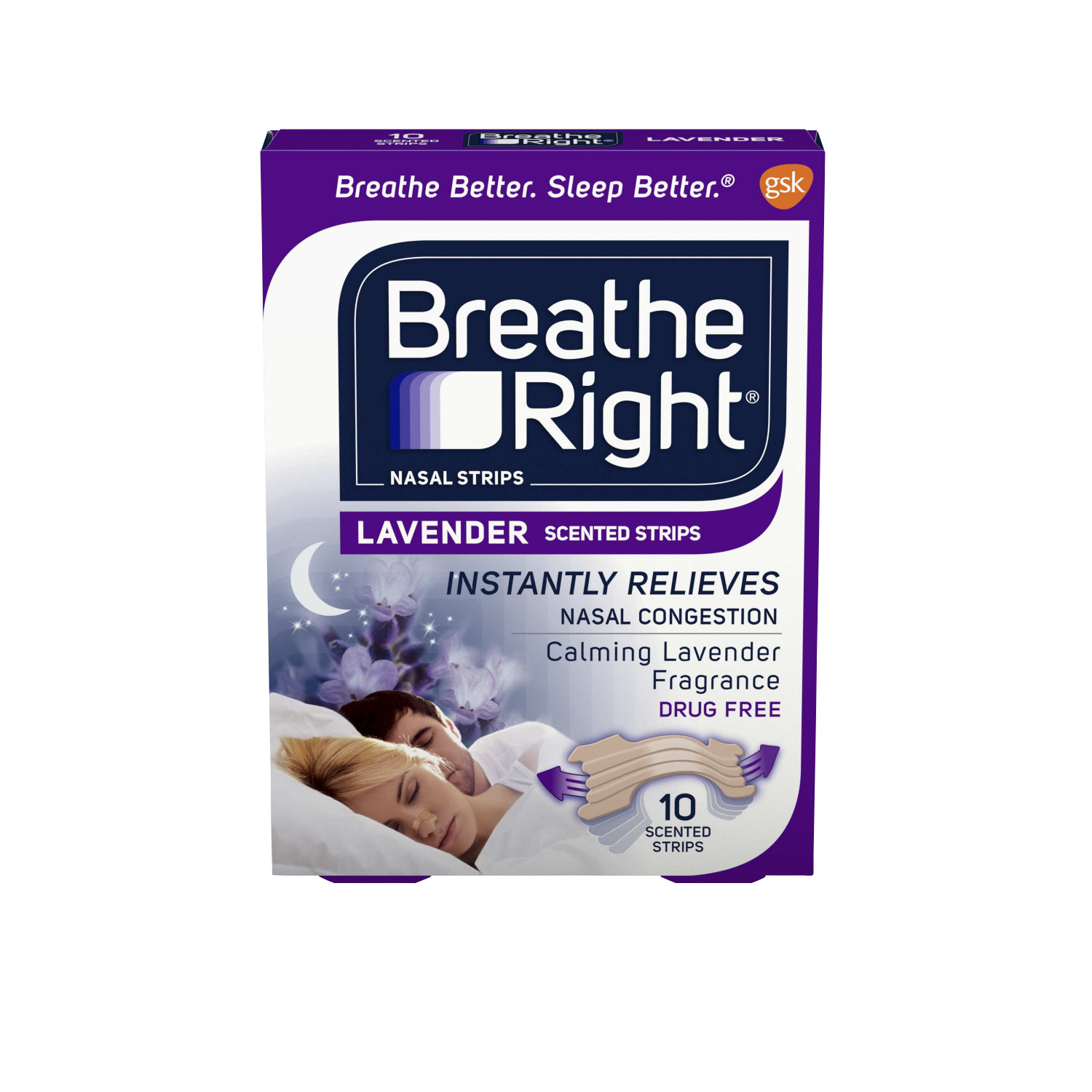 Breathe Right Calming Lavender Scented Drug-Free Nasal Strips for Nasal Congestion Relief, 10 count