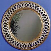 Gold & Champagne Decorative Weave Mirror - 45 diam. in.