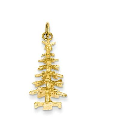 14k Yellow Gold 3-d Christmas Tree Charm - 3.1 Grams - Measures 27.5x12.4mm Gold 3d Globe Charm