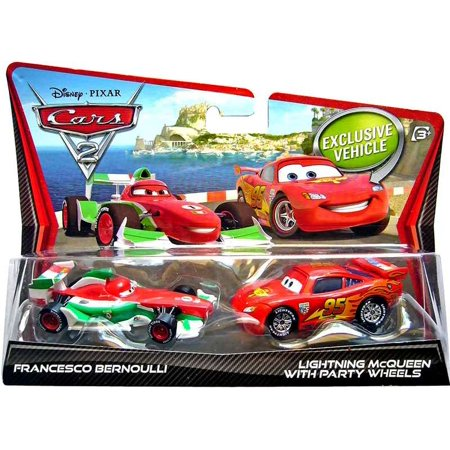 Francesco Bernoulli & Lightning McQueen with Party Wheels Diecast Car 2-Pack for $<!---->