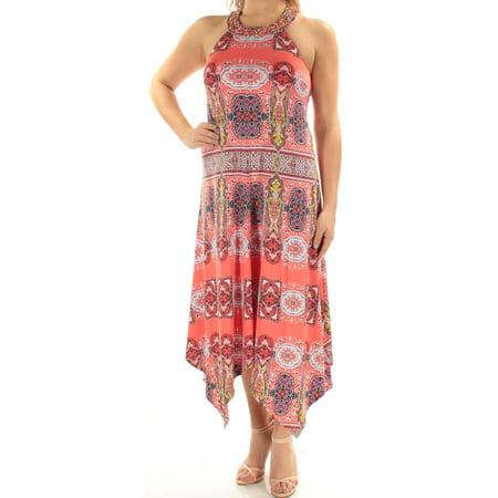 INC Womens Coral Beaded Damask Sleeveless Halter Maxi Trapeze Dress  Size: S