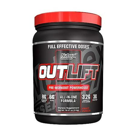 Nutrex OUTLIFT pré-entraînement Formule centrale électrique, Fruit Punch, 18,27 Oz