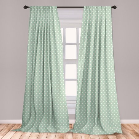 Mint Curtains 2 Panels Set, Classical Old Fashioned Polka Dots Pattern on Pale Green Fresh Background, Window Drapes for Living Room Bedroom, Mint Green and White, by Ambesonne Polka Dot Curtain Panels